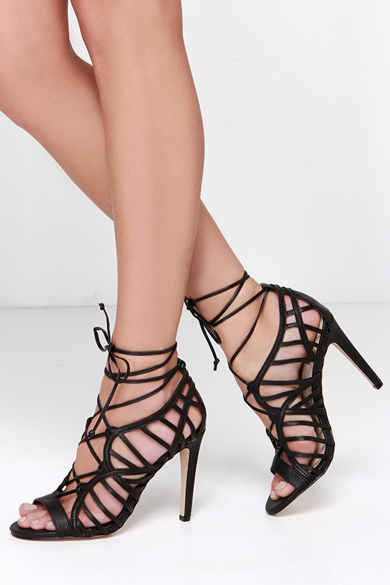 Lace Up Strappy Shoes With Heels Black