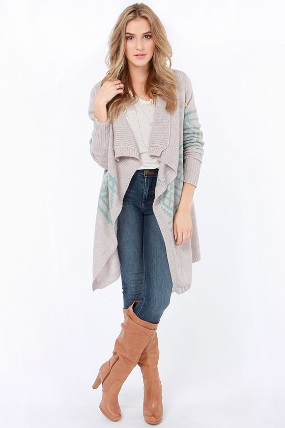 Southwest Side Story Blue and Grey Cardigan Sweater at Lulus.com!