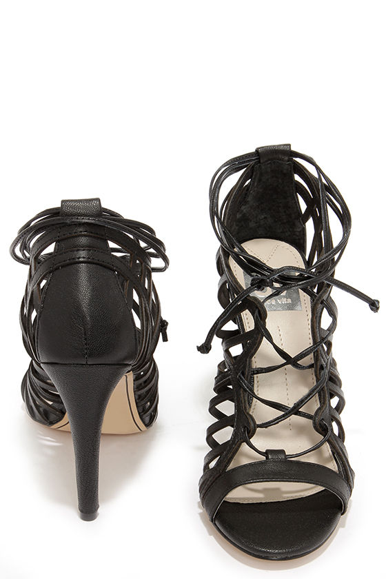 Sexy Black Heels - Lace-Up Heels - Caged Heels - $96.00