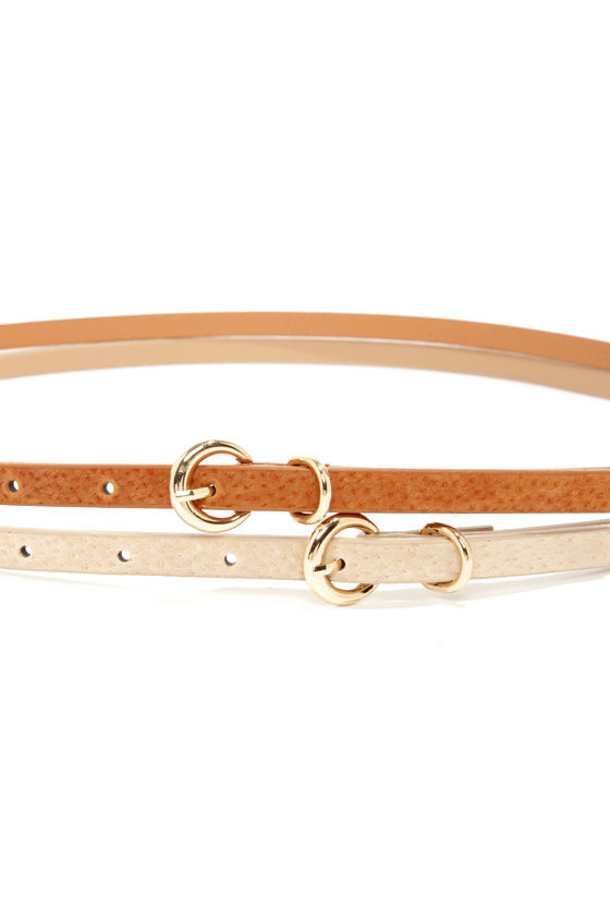 Fit Kit Beige and Tan Leather Belt Set at Lulus.com!