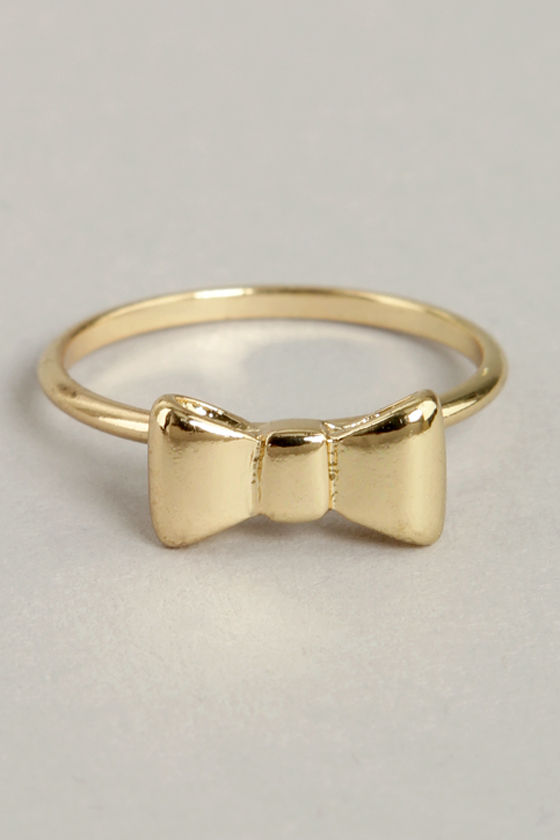 cute gold ring knuckle ring bow ring 1100