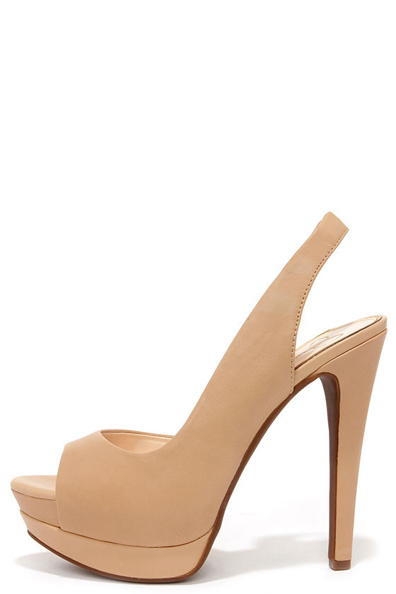 5dc3243fc4b0 Pretty Slingback Heels - Platform Heels - Nude Heels -  85.00