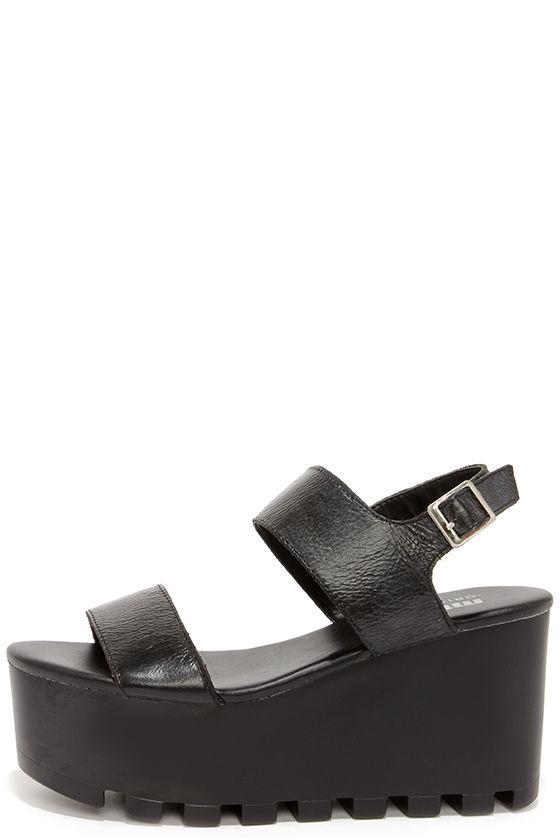 6db5fc11ac3 Cute Black Sandals - Flatform Sandals - Platform Sandals -  73.00