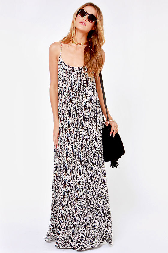Wandering Minds Cream and Black Print Maxi Dress at Lulus.com!