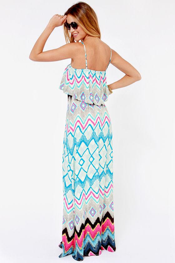 What a Day Blue Print Maxi Dress at Lulus.com!