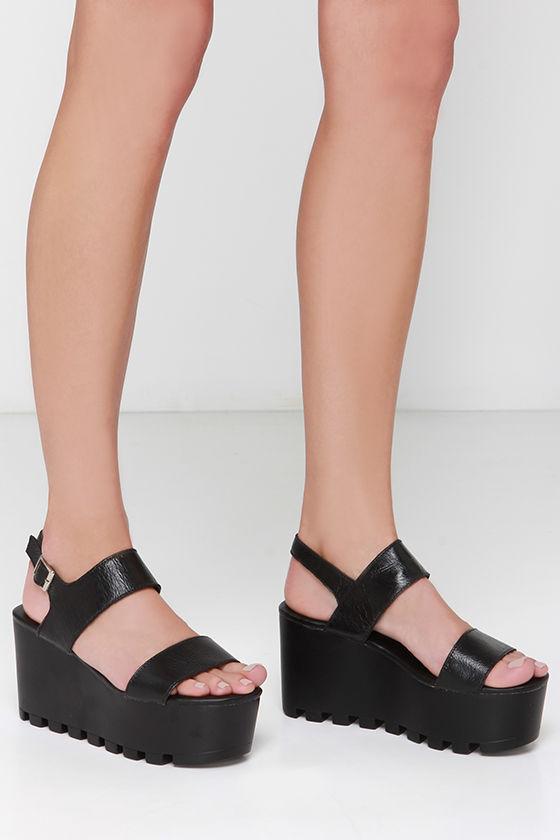 e88367a4471 Cute Black Sandals - Flatform Sandals - Platform Sandals -  73.00