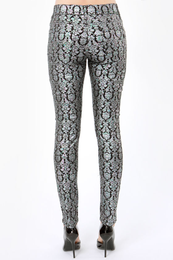 Mink Pink Petrol Metallic Black Print Skinny Pants at Lulus.com!