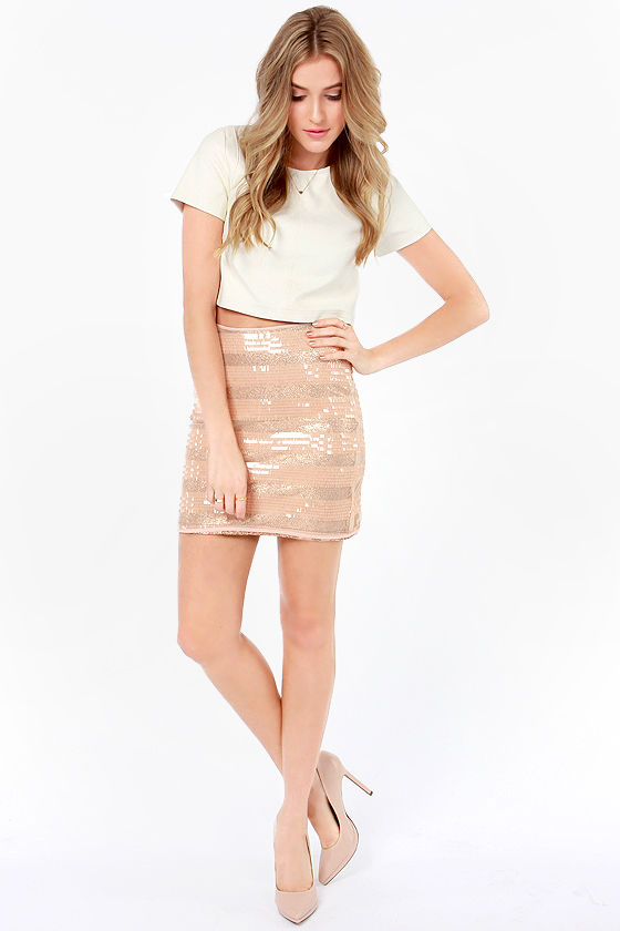 Mink Pink Eyes on the Prize Rose Gold and Blush Sequin Skirt at Lulus.com!