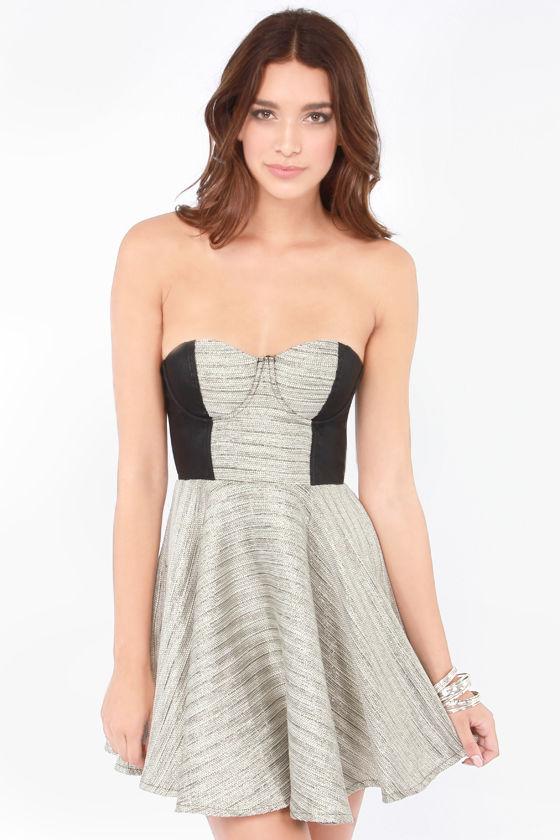 Mink Pink Silver Fox Strapless Dress Bustier Dress Skater