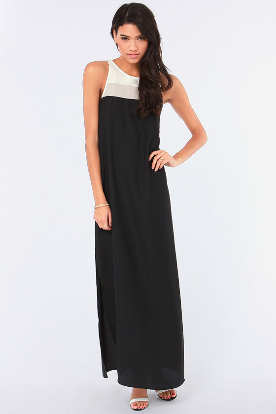 BB Dakota Sola Ivory and Black Maxi Dress at Lulus.com!
