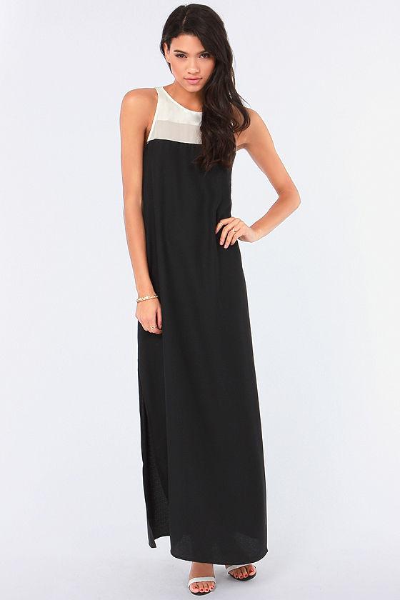 BB Dakota Sola Ivory and Black Maxi Dress at Lulus.com!