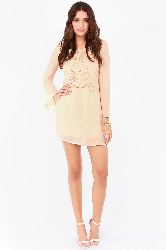 Ain't Life Grandeur Beige Shift Dress at Lulus.com!