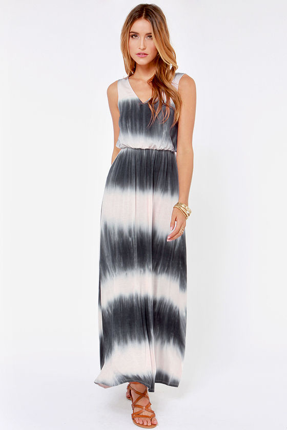 Tie Dying To Know Grey and Cream Maxi Dress at Lulus.com!