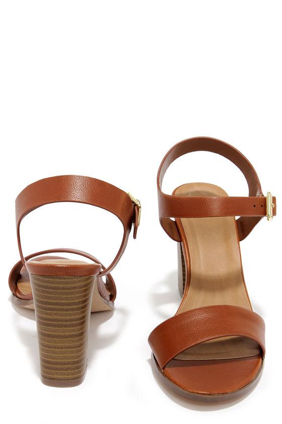 f4a6a36e1df6 Cute Tan Sandals - High Heel Sandals - Brown Sandals -  21.00