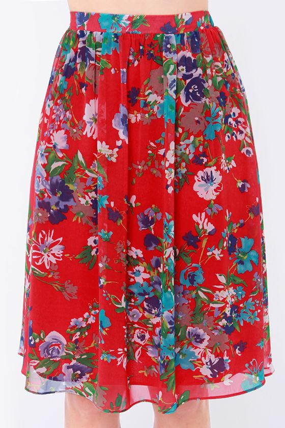 Pretty Floral Print Skirt - Red Skirt - Midi Skirt - High-Waisted ...