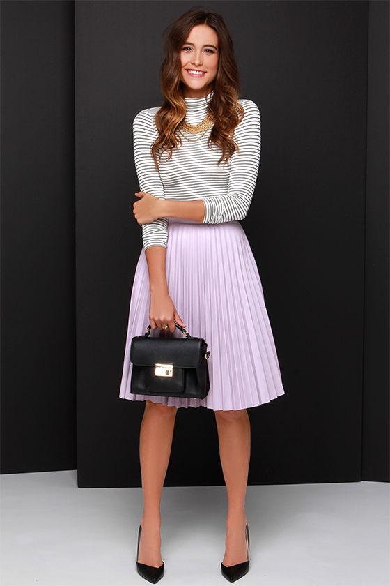 Pretty Lavender Skirt - Midi Skirt - Vegan Leather Skirt - $58.00