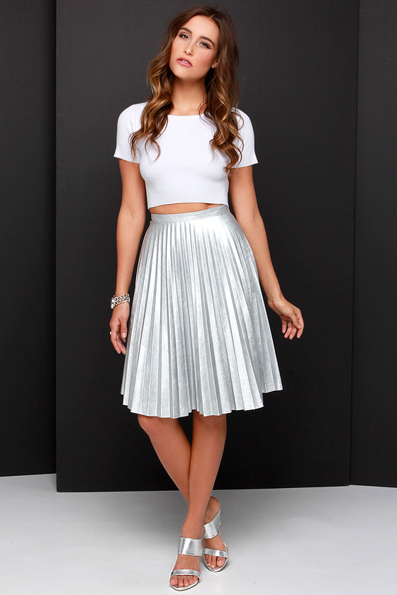 Pretty Silver Skirt - Midi Skirt - Vegan Leather Skirt - $58.00