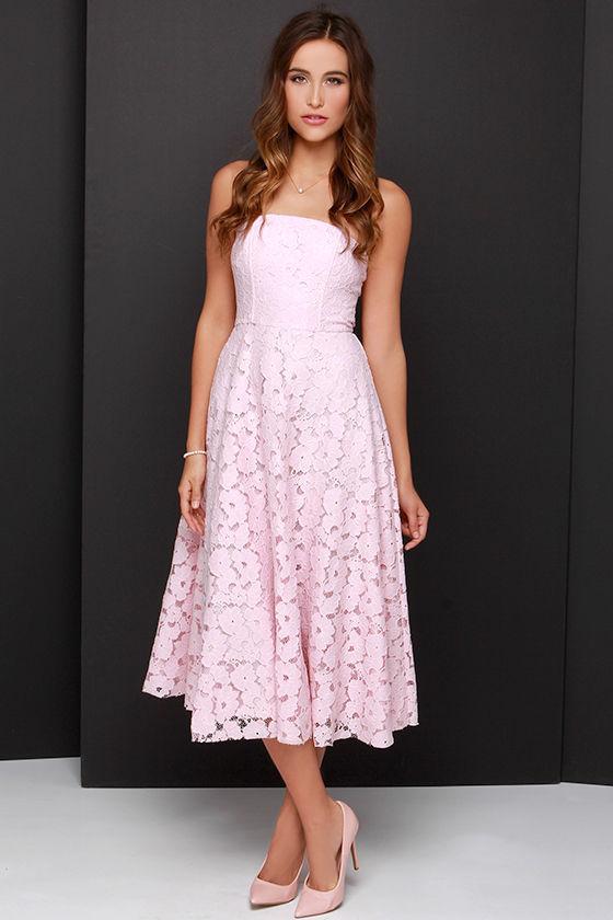 d338e5ac51b BB Dakota Alva Dress - Light Pink Dress - Lace Dress - Midi Dress ...