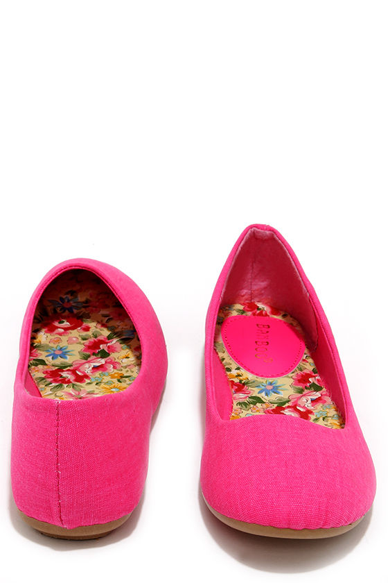 7a94b3397cb6 Fox and the Round Hot Pink Ballet Flats