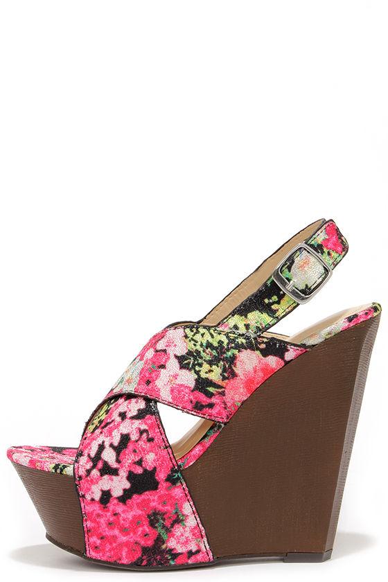 ebe23c8089 Cute Floral Print Shoes - Wedge Sandals - Platform Wedges - $36.00