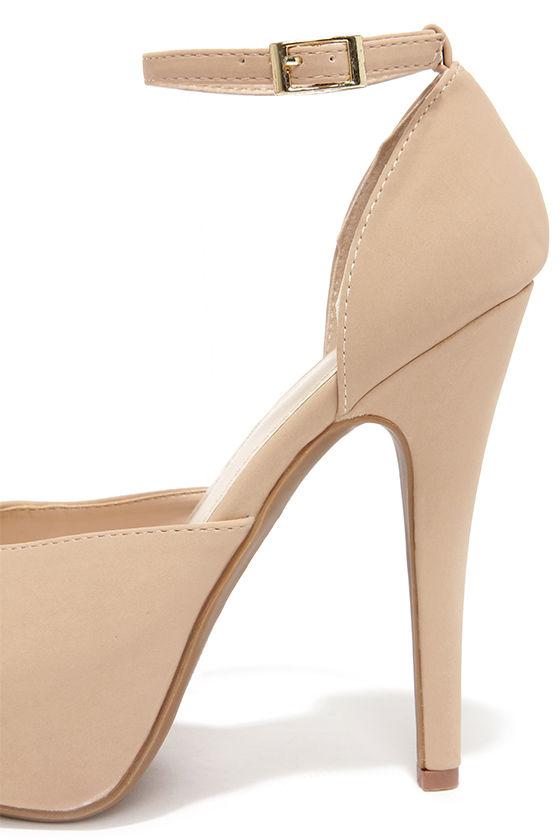 Pretty Nude Heels - Platform Heels - High Heels - $32.00