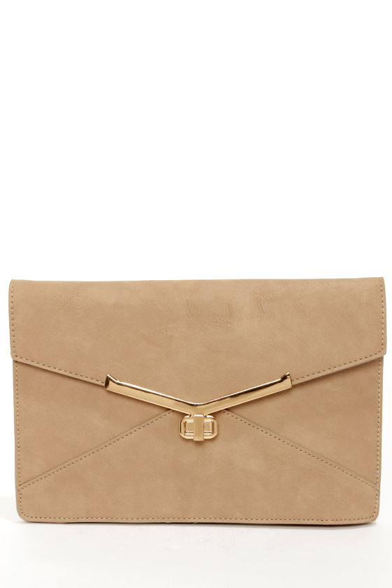 Go For It Beige Clutch by Urban Expressions at Lulus.com!