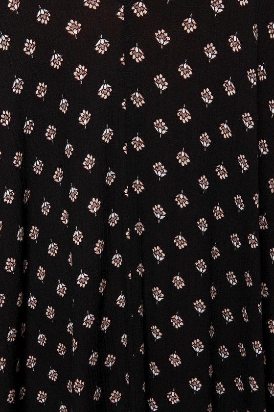 Yours Tule Black Floral Print Maxi Dress 6