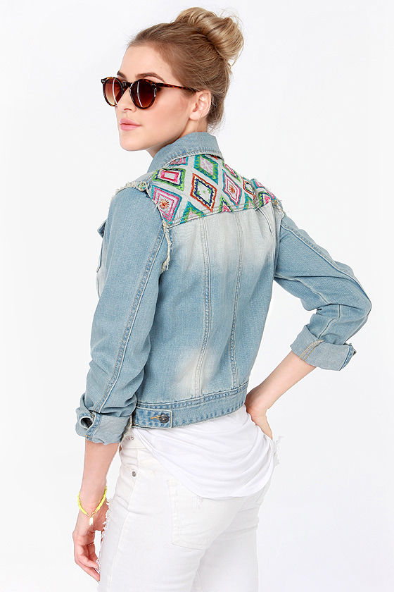 Happy Time Letter Embroidered Flamingo Bird Jean Jackets for Women 2017  Autumn Button-up Denim
