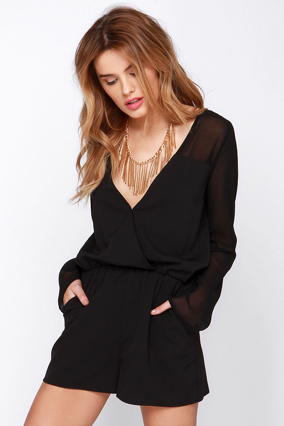 Stretchy Tank-style Romper - Black