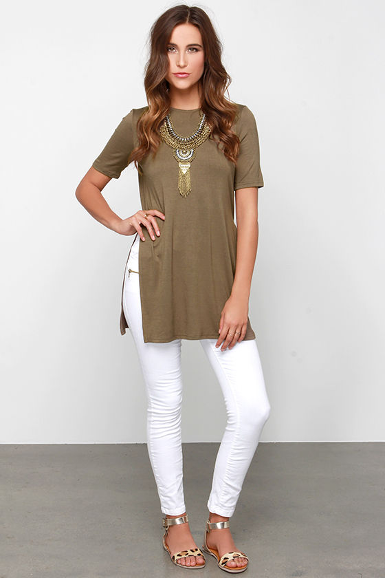 Chic Olive Green Top - Tunic Top - Side Slit Top -  35.00 ba1bcf8ca