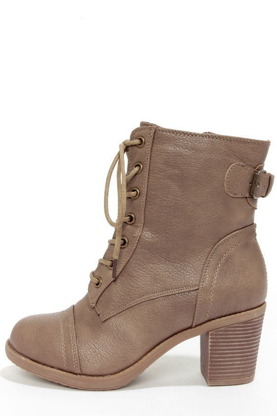 Cute Taupe Boots - Combat Boots - Lace-Up Boots - $34.00