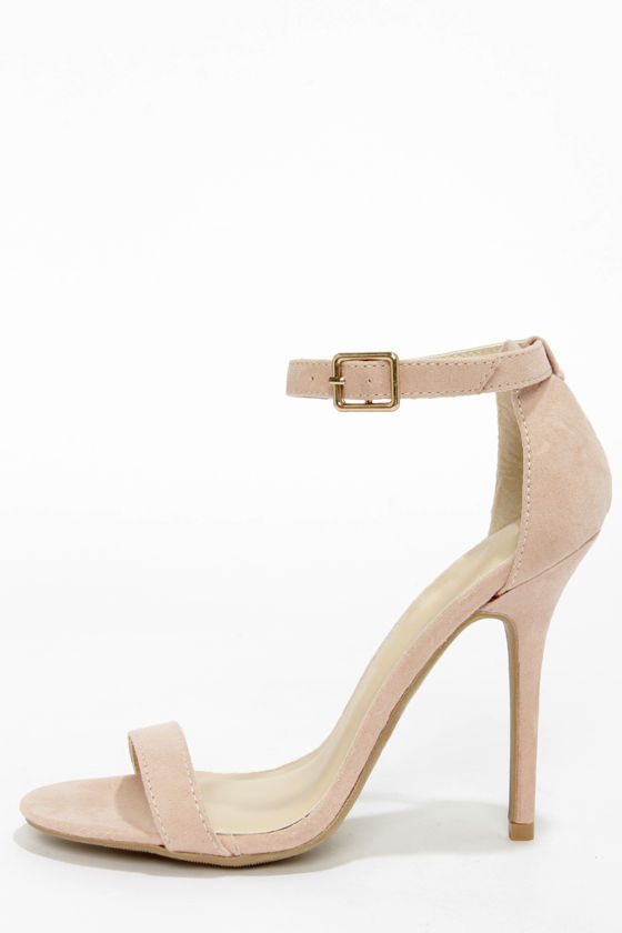 Sexy Nude Heels - Blush Heels - Single Strap Heels - $22.00