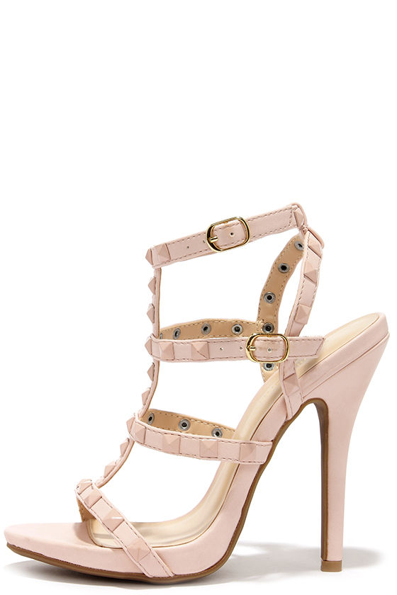 Sexy Nude Heels - Caged Heels - Studded Heels - Dress Sandals - $32.00