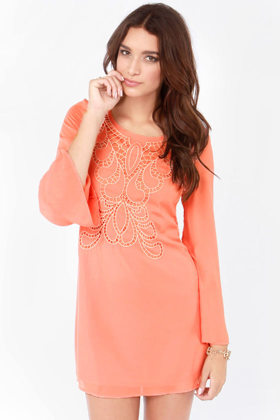 Pretty Coral Dress - Shift Dress - Embroidered Dress - $49.00