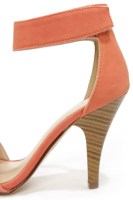 My Delicious Rosela Salmon Ankle Strap Heels at Lulus.com!