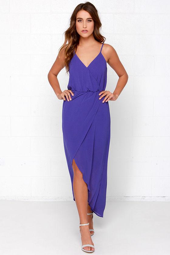 Chic Royal Blue Dress - Maxi Dress - Wrap Dress - $44.00