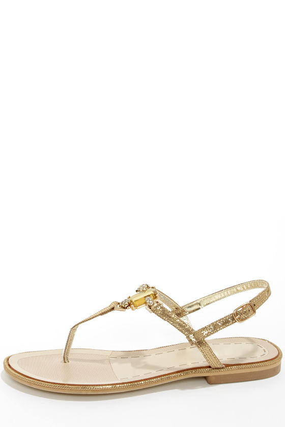 Good Choice Princess Cut Gold Bejeweled Thong Sandals at Lulus.com!