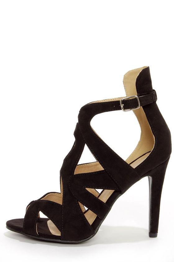 a39b8e8936ab22 Cute Black Heels - Peep Toe Heels - Strappy Heels - Single Sole Heels -   36.00
