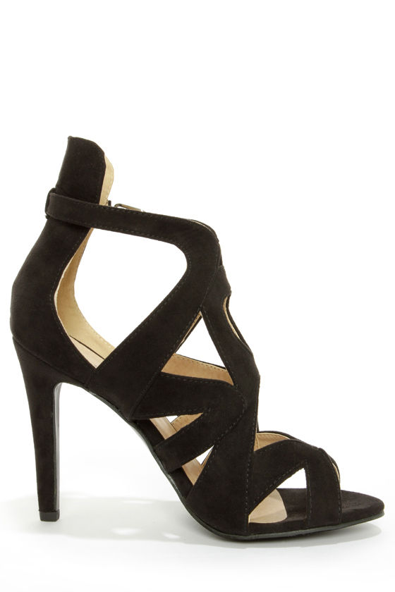 Sonya 4 Black Strappy Peep Toe Heels at Lulus.com!