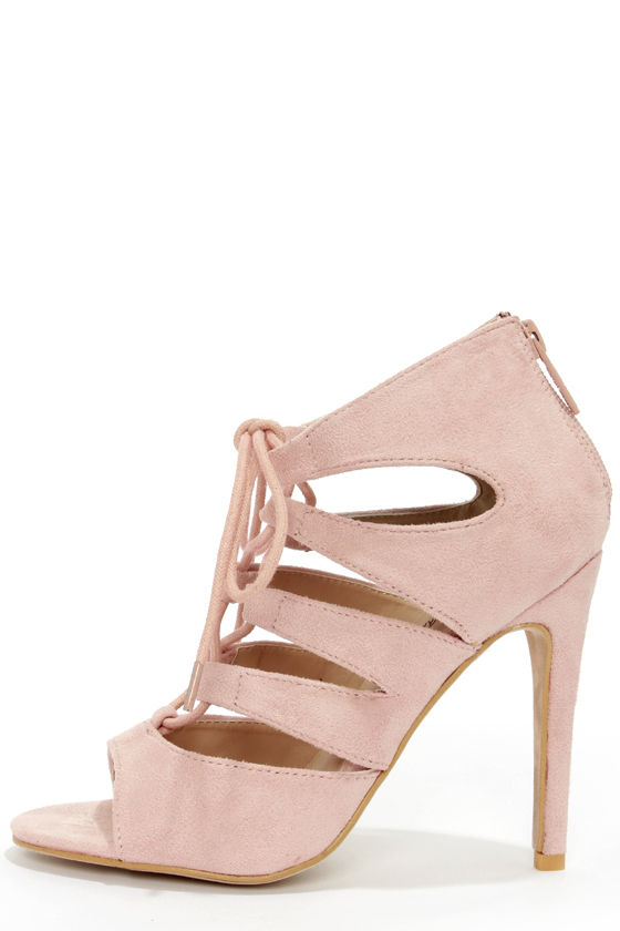 Cute Blush Shoes - Peep Toe Heels - Lace-Up Heels - $59.00