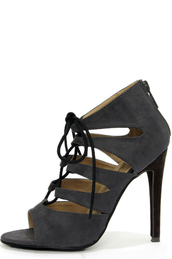 5ff369b0d54574 Cute Grey Shoes - Peep Toe Heels - Lace-Up Heels -  59.00