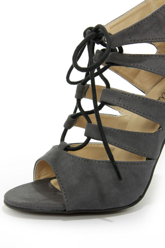 Michael Antonio Jacqueline Grey Lace-Up Peep Toe Heels at Lulus.com!