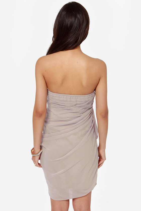 Midnight Masquerade Strapless Grey Dress at Lulus.com!