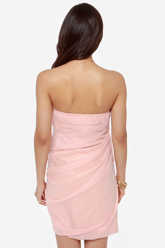Midnight Masquerade Strapless Light Pink Dress at Lulus.com!