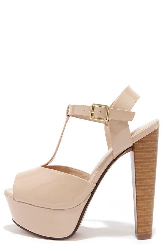 Cute Nude Heels - T Strap Heels - Platform Heels - Dress Sandals ...