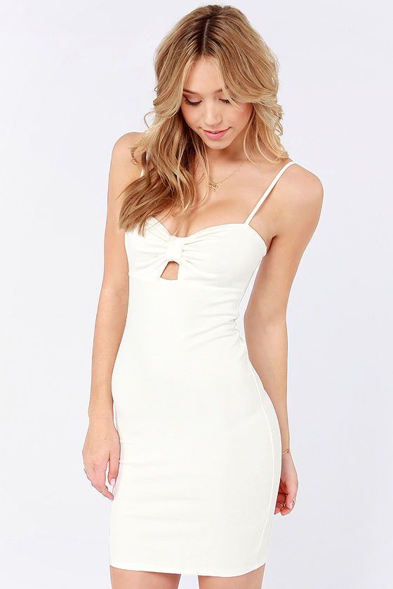 Away We Bow Bodycon Ivory Dress at Lulus.com!