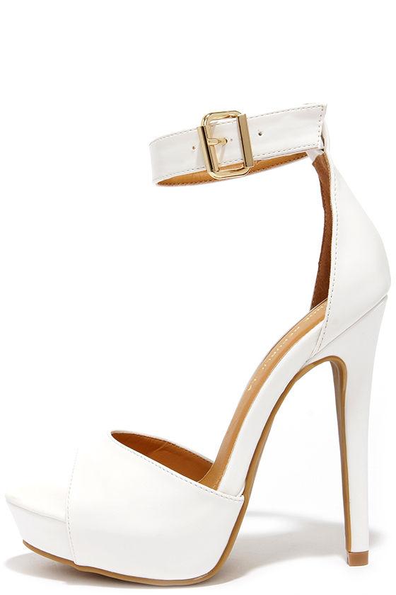 Pretty White Heels - Platform Heels - Ankle Strap Heels - $35.00