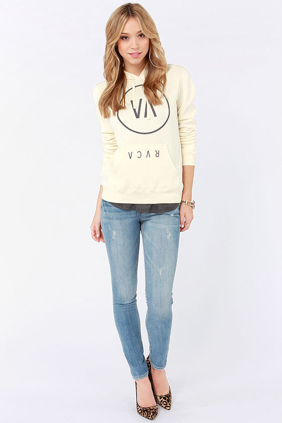 RVCA High End 2 Cream Hooded Sweatshirt at Lulus.com!
