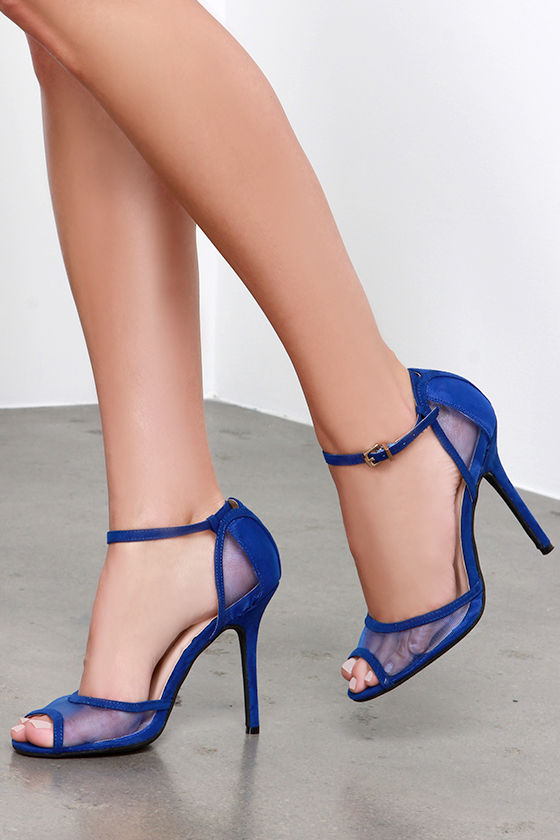 Cobalt Blue Heels - Peep Toe Heels - Blue Shoes - $25.00