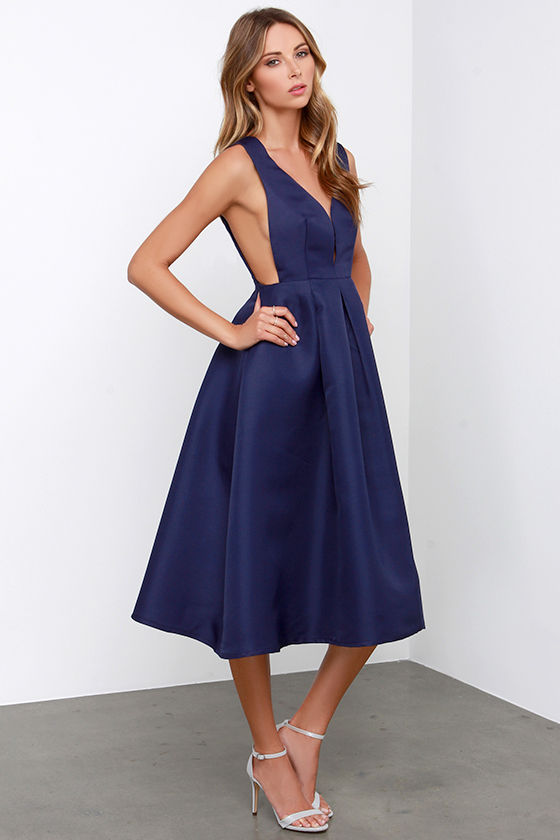 Midi Dress - Navy Blue Dress - Full Dress - $59.00